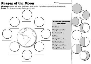 Moon Phases Activity Worksheet Worksheets For All  Download And Share Worksheets  Free On