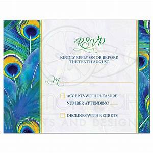 Peacock Feather Wedding RSVP Card   Watercolor   Blue ...