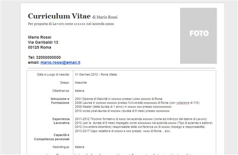 Curriculum Vitae In Word Document by Curriculum Vitae Modello Curriculum Vitae In Formato Word Doc