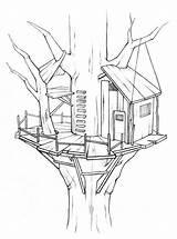 Treehouse Coloring Ausmalbilder Baumhaus Tree Houses Boomhutten Awesome Drawing Robinson Swiss Kleurplaten Kleurplaat Sketch Kleurplatenenzo Boomhut Malvorlagen Sketches Malvorlage Afkomstig sketch template