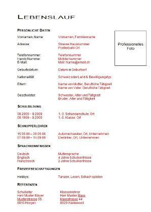 Lebenslauf Unterlagen by Muster Lebenslauf Word Muster Lebenslauf Lehrstelle