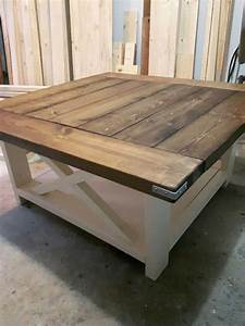 38quot square coffee table in dark walnut and antique white With 38 square coffee table