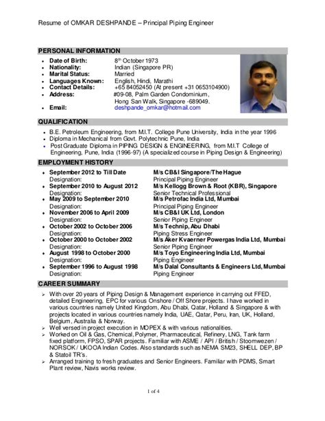 Piping Engineer Resume And Gas by Resume Of Omkar D Deshpande
