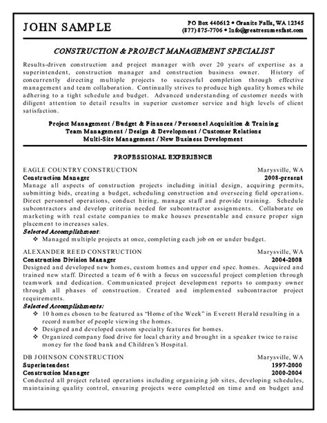 Construction Project Manager Resume by Construction And Project Management Specialist Resume