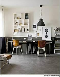 Idee Deco Bureau Double Gris Taupe Et Blanc Esprit Vintage