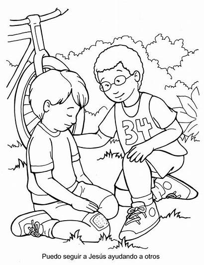 Coloring Jesus Helping Others Pages Follow