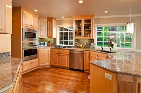 contemporary high  natural wood kitchen designs