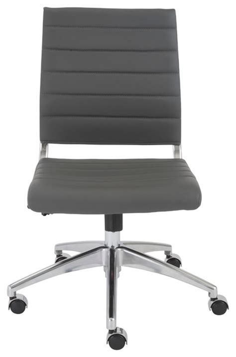 axel low back office chair without arms gray aluminum