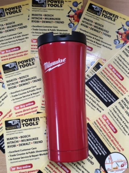 milwaukee red travel mug