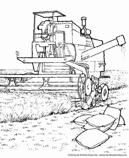 Farm Harvester Coloring Pages Combine Field Printable