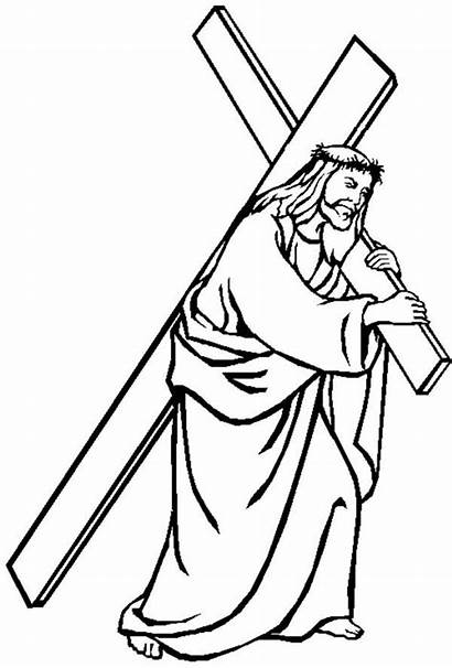 Jesus Cross Carrying Coloring Drawing Friday Pages