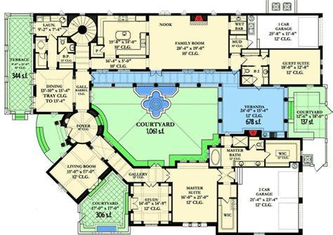 courtyard dream home plan ka architectural designs house plans