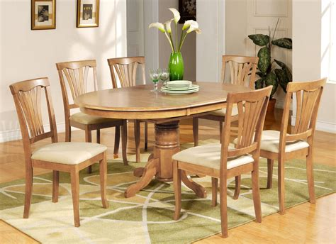 Wood Dining Sets With Leaf by 7 Dining Table Set Oval Dinette Table With Leaf And