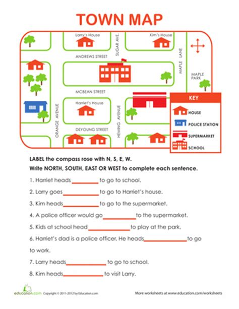 learning directions worksheets social studies and geography
