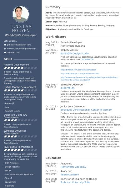 Developer Resume Template by Android Developer Resume Exle Android Developer