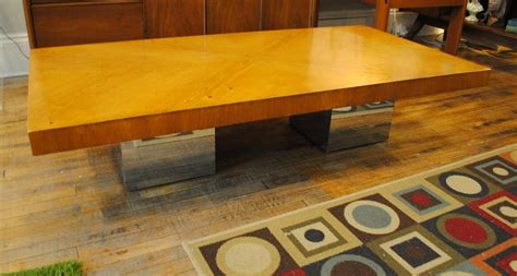 Shows wear consistent with age and use. Milo Baughman Wood & Chrome Coffee Table   Circa