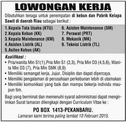 Berikut ini adalah lowongan kerja pt pabrik kertas tjiwi kimia. Lowongan Kerja Di Perkebunan Kelapa Sawit 2019 - Info ...