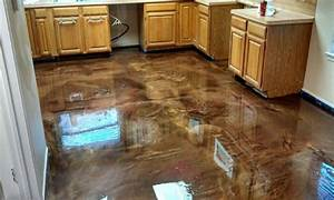 Brown dining rooms, painted concrete floors epoxy stained