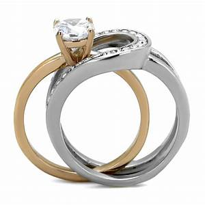 cje2032 two tone ip rose gold wedding ring set With two toned wedding ring sets