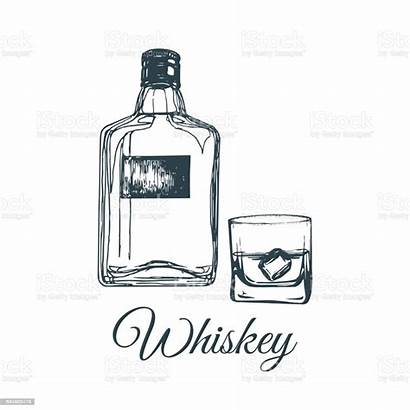 Whiskey Bottle Glass Vector Scotch Illustration Bar