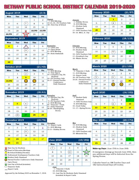 school calendar bethany public schools