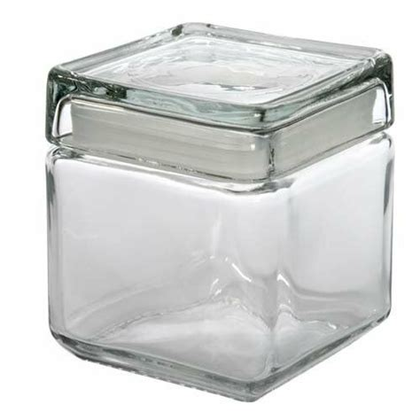 anchor hocking glass square stacking jar container  lid coffee tea sugar ebay