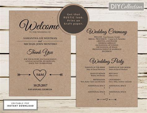 rustic wedding program template printable wedding programs
