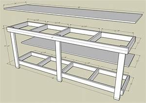 Garage work bench with measurements by http://www