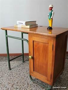 Bureau écolier Vintage : bureau colier bois m tal inspiration vintage ~ Nature-et-papiers.com Idées de Décoration