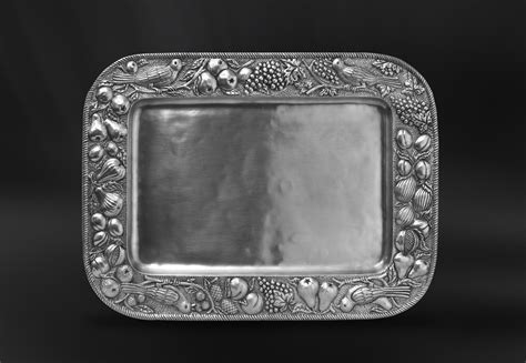 rectangular embossed pewter tray italian pewter serveware