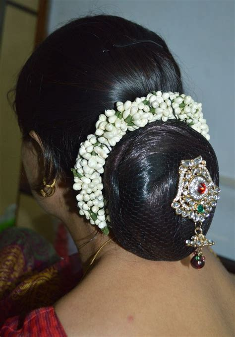 beautiful traditional  bun decorated   gajara