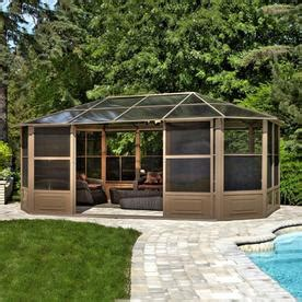 Heating A Screened Porch by Shop Gazebo Penguin Brown Aluminum Octagon Screened Gazebo
