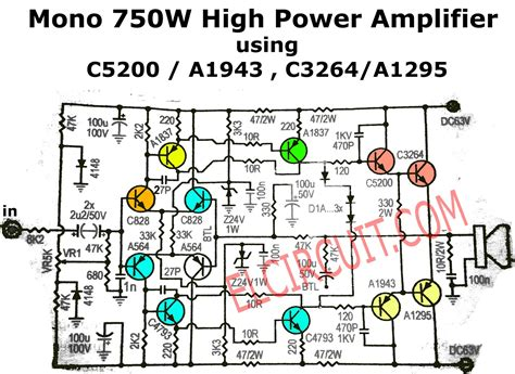 mono power amplifier schematic  pcb electronic