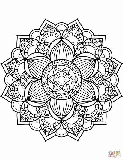 Mandala Coloring Pages Printable Flower Getcolorings Colorings