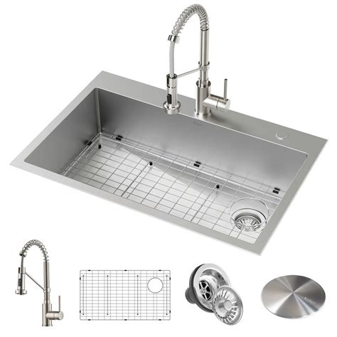 All In One Kitchen Sink by Kraus Loften All In One Dual Mount Drop In Stainless Steel