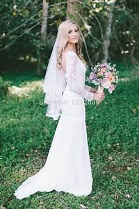 Long Sleeve Sheath Lace Mermaid Wedding Dress Sexy Mermaid ...