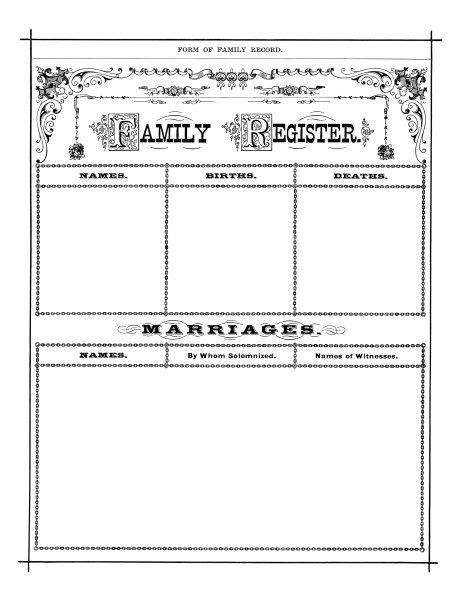 antique family register, genealogy form, family history form, black and white clip art, vintage