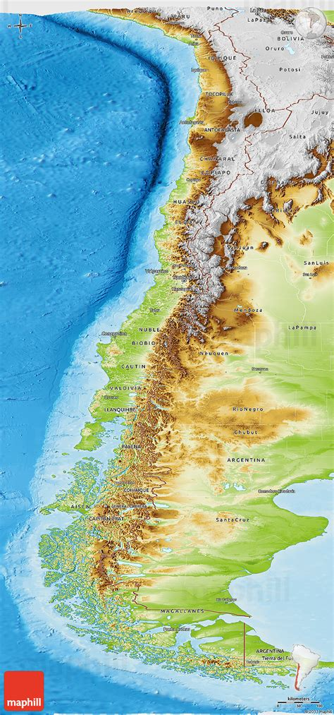 physical panoramic map  chile