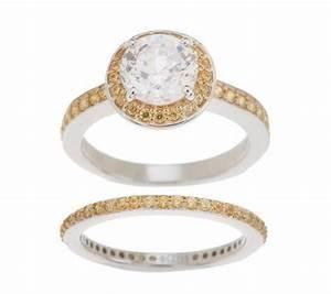 epiphany diamonique 100 facet halo bridal ring set With qvc wedding ring sets