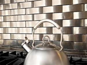 Metal tile backsplashes hgtv for Metal tile backsplash ideas