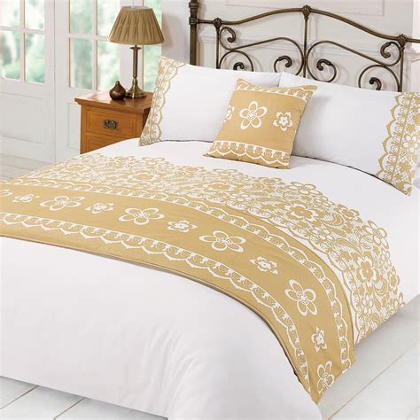 White And Gold Bed Covers by Lace Duvet Cover With Pillowcases Runner Bed In A Bag Set