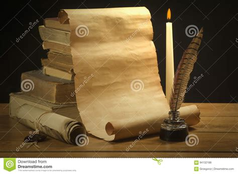 Scroll Of Old Paper For Background Old Books, Inkwell And