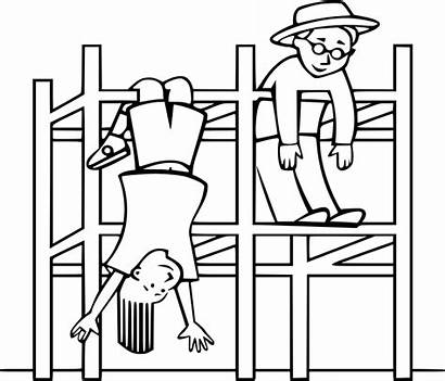 Playground Gym Jungle Clipart Climbing Frame Drawing