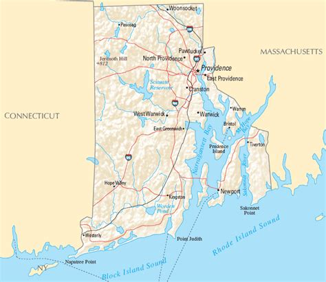 rhode island map  printable maps