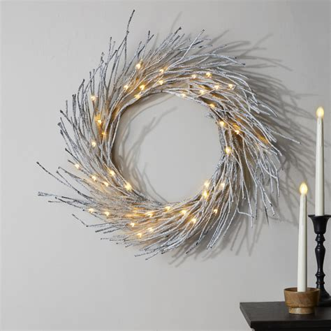 Frosted Branch LED-Wrapped Wreath | White led lights, Led ...