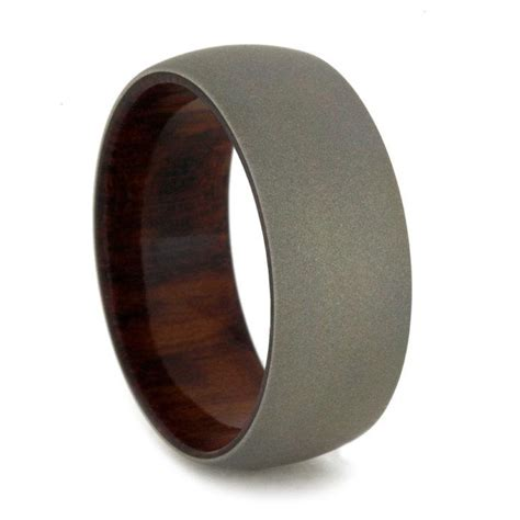 mens wedding band with snakewood sleeve and sandblasted
