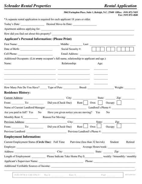 Rental Application Template Rental Application Template In Word And Pdf Formats