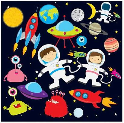 Space Clip Astronaut Clipart Moon Earth Planets