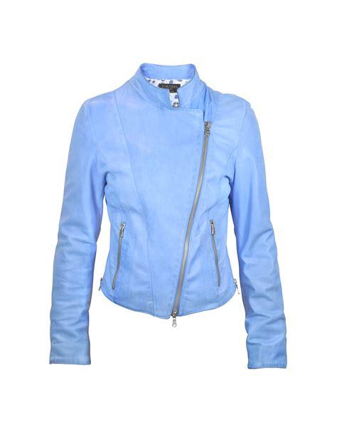 light blue leather jacket womens forzieri light blue asymmetrical zip washed leather jacket