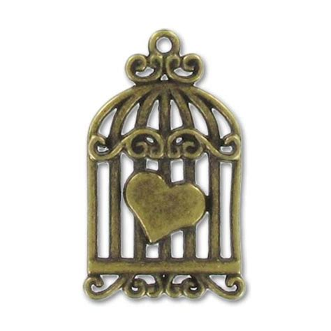 Gabbia Uccello - ciondolo gabbia per uccello cuore mm 34 bronzo x1